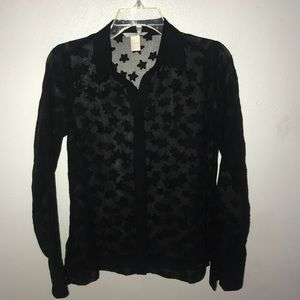 Black Star Sheer Button Up